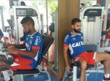 Por causa das chuvas, elenco do Bahia treina na academia do Fazendão