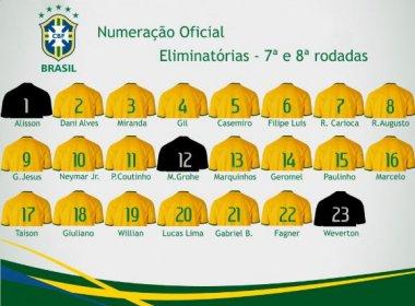 CBF divulga numeração das camisas da Seleção para jogos das Eliminatórias