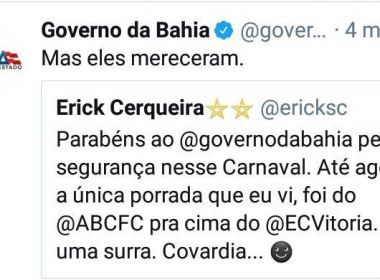 Twitter do governo ironiza derrota do Vitória: 'Mereceram'; Secom pede desculpas