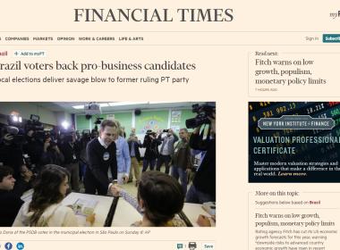 Financial Times diz que PT sofreu 'humilhação nacional' em eleições municipais