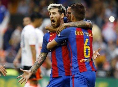 Messi marca nos acréscimos, Barça bate Valencia e assume a ponta provisória