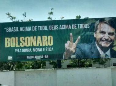MP Eleitoral pede retirada de outdoors com Bolsonaro na Bahia