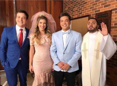'Palhaçada': Léo Santana mostra ciúmes ao ver Lore Improta de noiva em clipe de Safadão