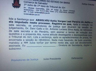 'Atitude deselegante': Promotores não assinam termo de absolvição de Kátia Vargas