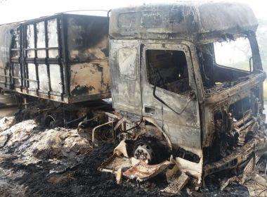 Caminhão trator pega fogo durante a madrugada na BR-101; ninguém ficou ferido