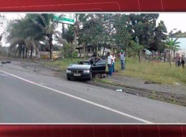 Acidente entre carro e ônibus de turismo deixa idosa morta na BR-101
