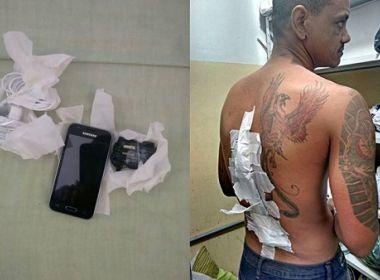 Conquista: Detento é flagrado ao tentar entrar em presídio com celular nas costas