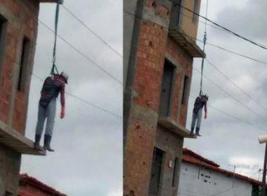 Macarani: Pedreiro sofre choque elétrico e sobrevive pendurado em cabo de segurança