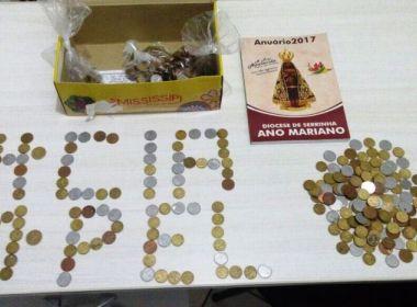 Quijingue: Jovem é preso após arrombar igreja e levar R$ 52 em moedas