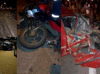 Conquista: Quatro pessoas ficam feridas em acidente envolvendo caminhão, carro e moto