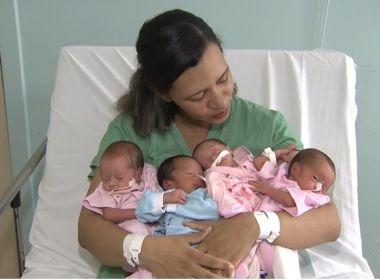 Riachão do Jacuípe: Quadrigêmeos de gravidez natural recebem alta e já estão em casa