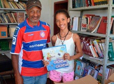 Coité: Menina de 12 anos cria biblioteca para incentivar leitura em povoado