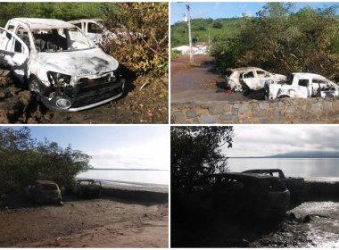 Maragogipe: Bando explode agência, queima carros e foge de barco pelo Paraguaçu