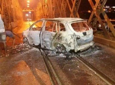 Cachoeira: Grupo explode agências e incendeia veículo em ponte e na BR-101