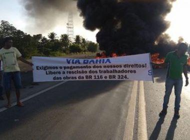 Santo Estevão: Ex-funcionários de empresa de construção rodoviária protestam em BR