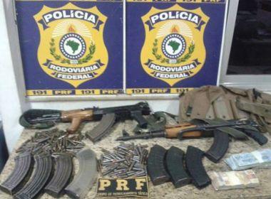 Conquista: PRF prende suspeito de roubo a banco, R$ 24 mil e dois fuzis