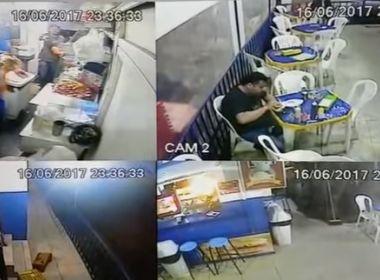 Conquista: Dupla invade lanchonete e rouba caixa; câmeras flagram ação