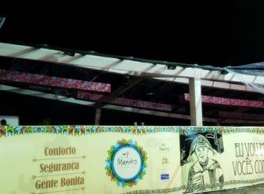 Porto Seguro: Parte de camarote desaba e show é cancelado por causa de temporal