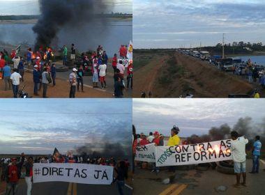 Protesto fecha BR no norte da Bahia; Em Lauro, sindicalistas pedem saída de Temer