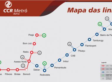 Preparativos da linha 2 do Metrô começam; trens seguem à esquerda do Camurujipe