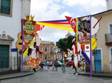 Com homenagem ao Samba, decoração do Carnaval do Pelourinho é inaugurada