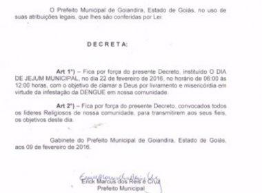 Decreto estabelece dia de 'clamar a Deus' para combate à dengue no interior de Goiás