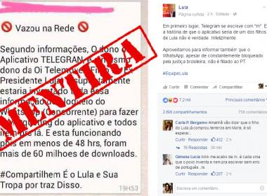 Lula nega que filho seja dono do Telegram e diz que Whatsapp não é 'filiado ao PT'