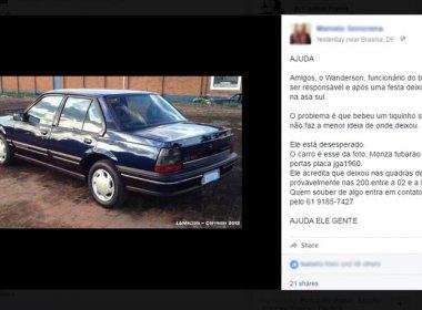Após bebedeira, jovem perde carro e faz campanha na internet para achá-lo
