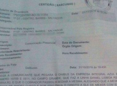 Estudante denuncia cobrador por assédio sexual em ônibus de Salvador