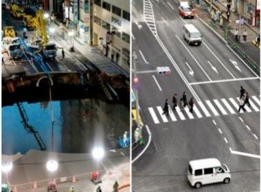 Cratera consertada em uma semana volta a ceder no Japão