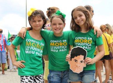 Crianças também participam de ato contra corrupção e defendem Sérgio Moro