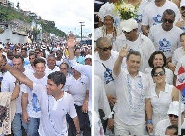 ACM Neto e Rui Costa se evitam no Bonfim; grupos protestam e geram 'empurra-empurra'