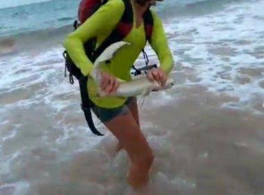 Jovem 'pega' tubarão para fazer vídeo em Noronha, leva mordida e multa de R$ 10 mil