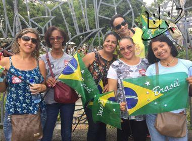 Previdência: Manifestantes afirmam que ato é apartidário e carregam bandeira do Brasil