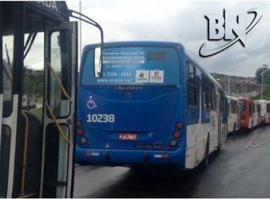 Ônibus param em fila na ACM em protesto contra a reforma trabalhista