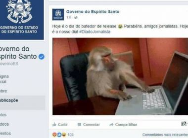 Governo do ES usa macaco para representar jornalistas em homenagem