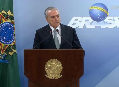 TEMER DIZ CRISE NÃO PODE JOGAR NO LIXO TRABALHO FEITO EM PROL DO BRASIL