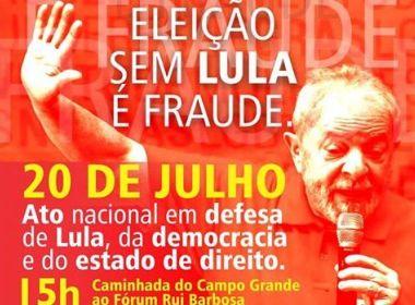 CUT faz caminhada nesta quinta: 'Eleições sem Lula é Golpe'