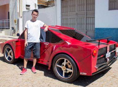 Auxiliar de cabeleireiro constrói réplica de Ferrari em Paramirim; cópia custou R$ 6 mil