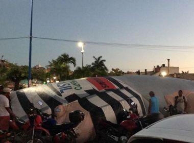 'Pixulecão' é inflado na frente da Arena Fonte Nova; Lula participa de ato no estádio