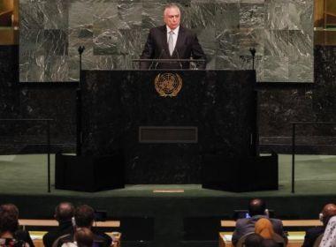 Na abertura da Assembleia da ONU, Temer defende abertura do Brasil para o mundo