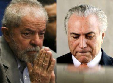 54% QUEREM PRISÃO DE LULA; 89% DEFENDEM ABERTURA DE PROCESSO CONTRA TEMER