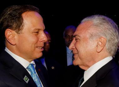 Doria é preferido de Temer para disputar Presidência da República, aponta coluna