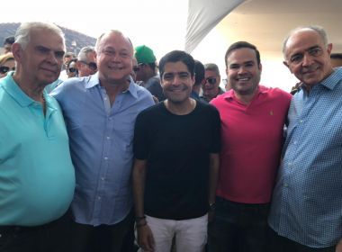 Aliados de Rui Costa prestigiam aniversário de Paulo Azi ao lado de ACM Neto