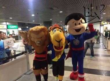 Mascotes de Sport e Bahia participam de ação no aeroporto de Recife