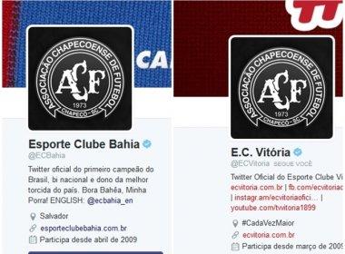 Vitória e Bahia mudam escudo no Twitter em solidariedade à Chapecoense