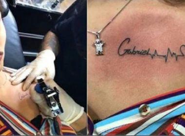 Andressa Suíta, esposa de Gusttavo Lima, faz tatuagem com nome do primeiro filho