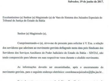 Coordenador dos Juizados pede controle de frequência durante greve dos servidores do TJ