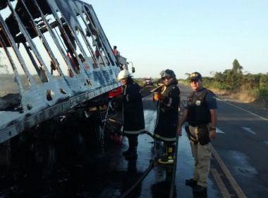 Teixeira: Carreta pega fogo após tanque de combustível vazar; fato ocorreu na BR-101