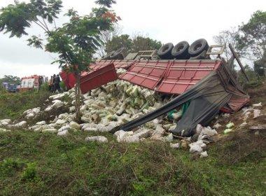 Quatro ficam feridos após carreta carregada de arroz tombar na BA-650